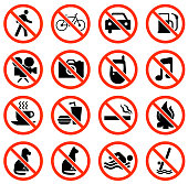 restrictions public signs black and white icon set