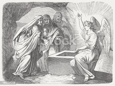 istock Resurrection message (Matthew 28, 5-7), wood engraving, published in 1877 185004206