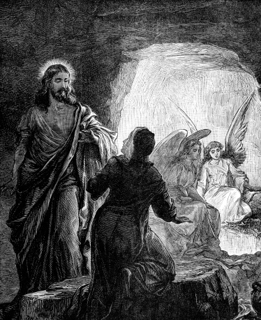 An engraved vintage illustration image of  The Resurrection of Jesus Christ, from a Victorian book dated 1881 that is no longer in copyright