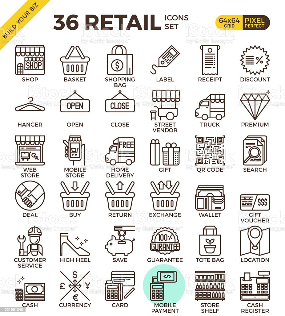Retail Store pixel perfect outline icons vector art illustration