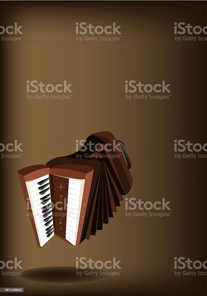 Retro Accordion on Dark Brown Background royalty-free stock vector art