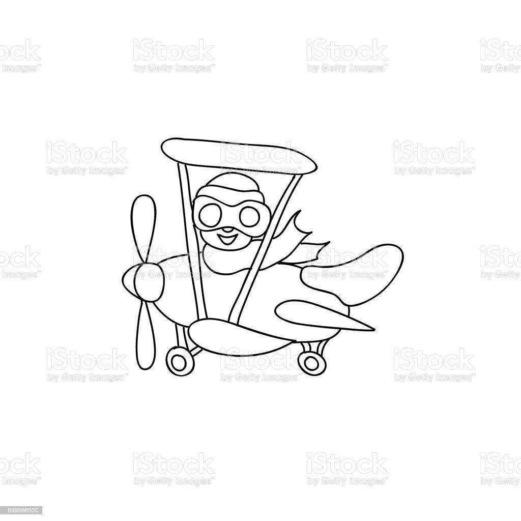 Retro Ucak Pilot Cocuklu Beyaz Izole Sayfa Boyama Stok Vektor