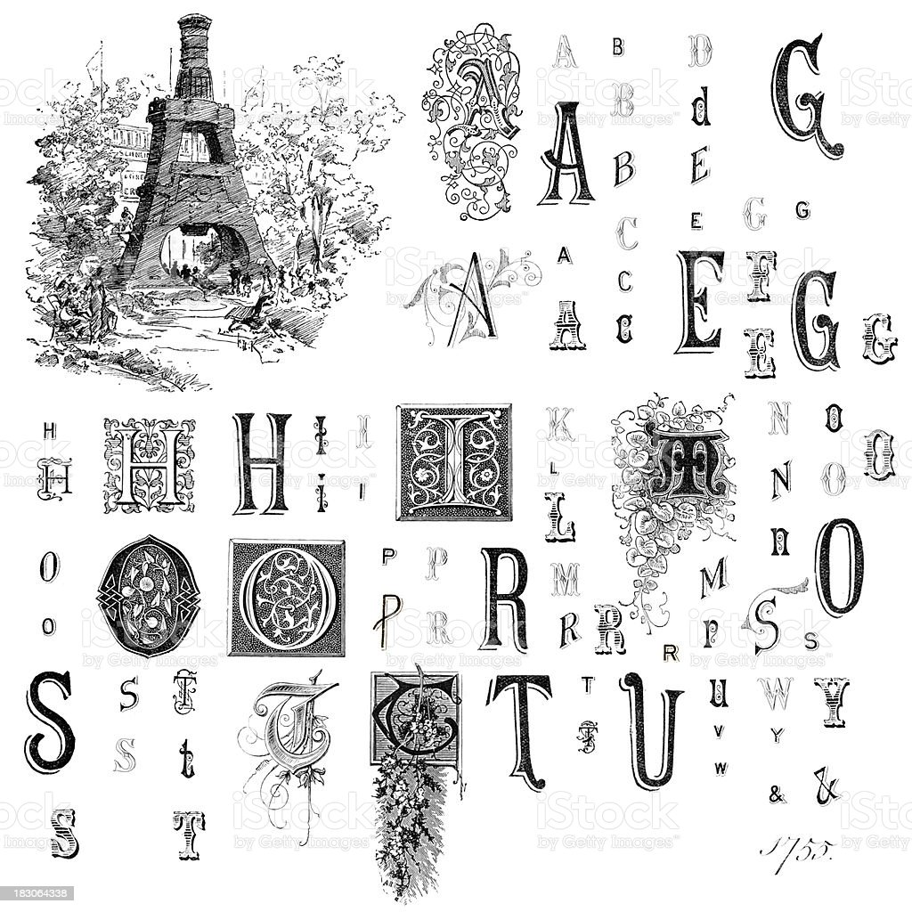 Retro Alphabet Letters royalty-free retro alphabet letters stock vector art & more images of 19th century style