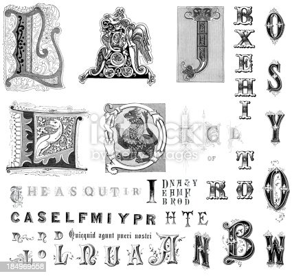 Vintage engraving of miscellaneous retro vintage letters