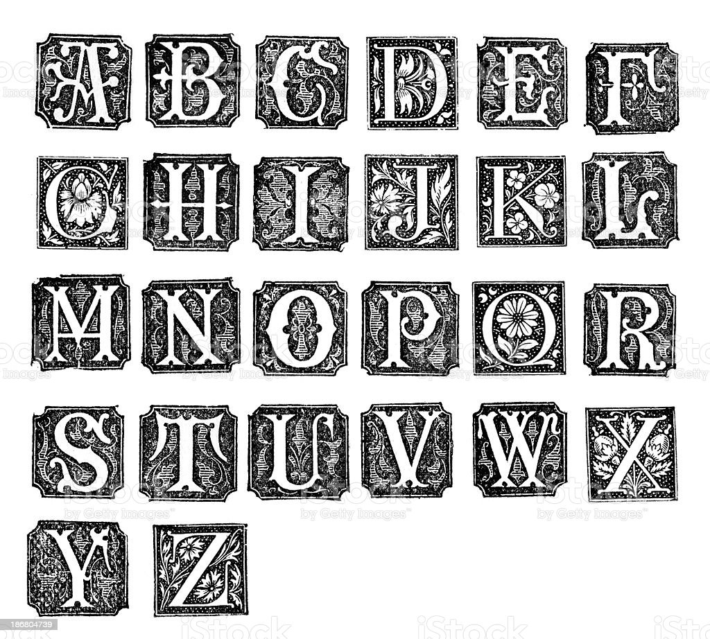 Retro Alphabet Letters vector art illustration