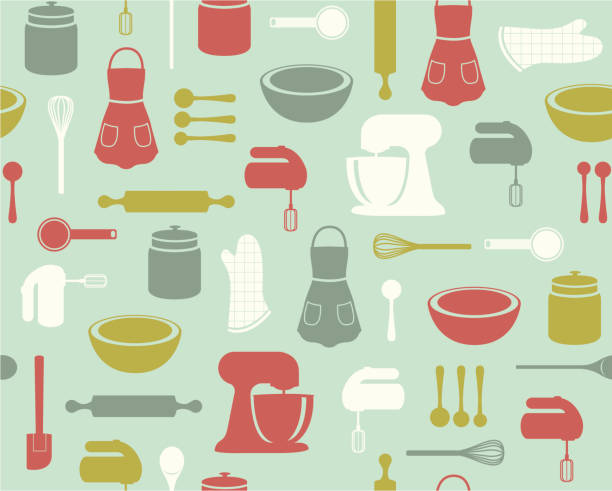 Retro Baking Pattern A retro-styled mix of baking implements, from mixers to measuring spoons, all in a seamless pattern. cooking designs stock illustrations