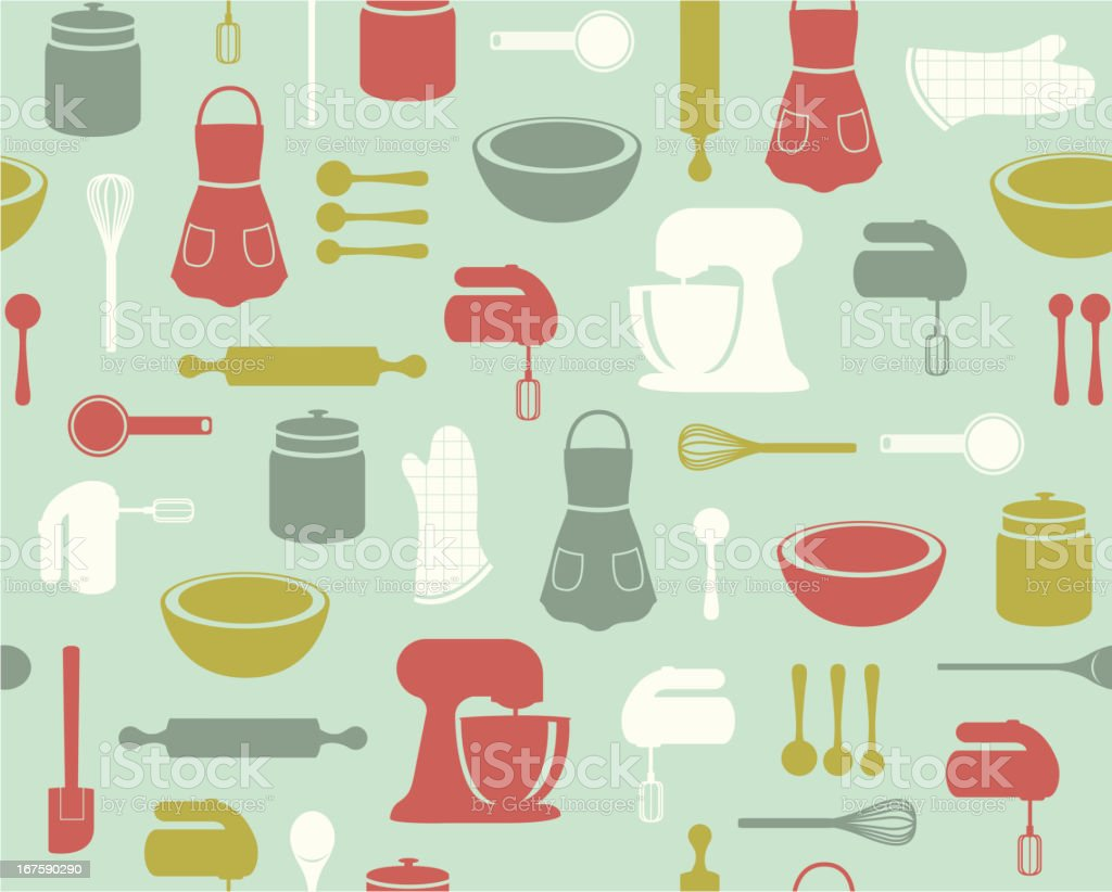 Retro Baking Pattern vector art illustration
