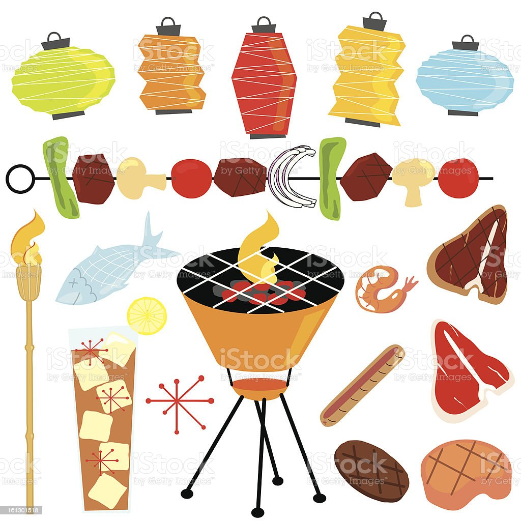 Retro Barbeque Party vector art illustration