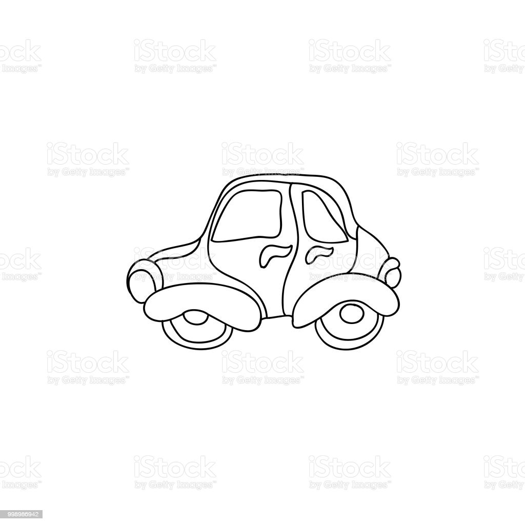 Retro Araba Cocuk Uzerinde Beyaz Izole Sayfa Boyama Stok Vektor
