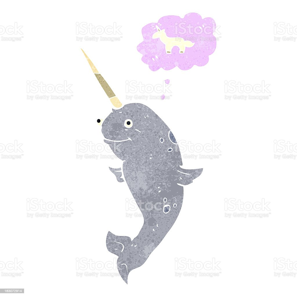 retro cartoon narwhal dreaming of being a unicorn royalty-free stock vector art