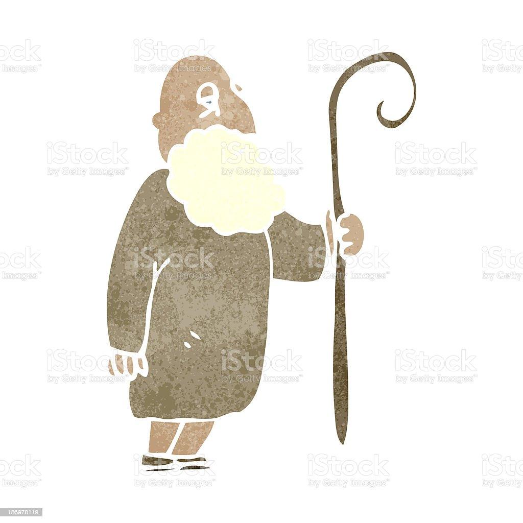 retro cartoon old shepherd man vector art illustration