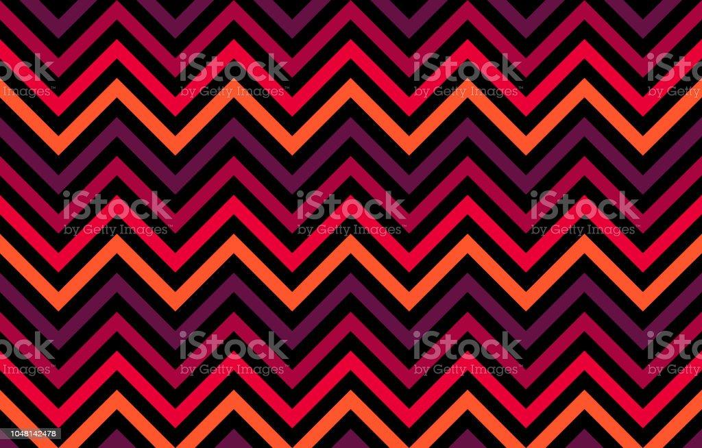 Un retro cromático con líneas de chevron en rojo a tonos naranjos sobre fondo negro - ilustración de arte vectorial