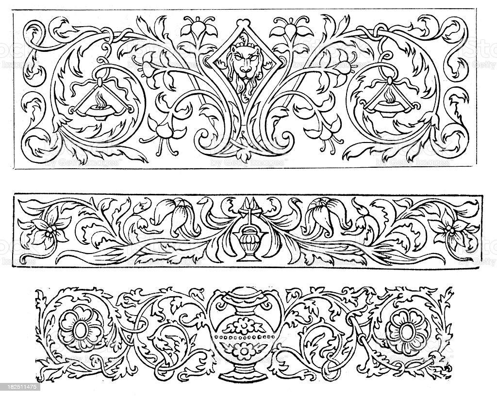 Retro classical design elements vector art illustration