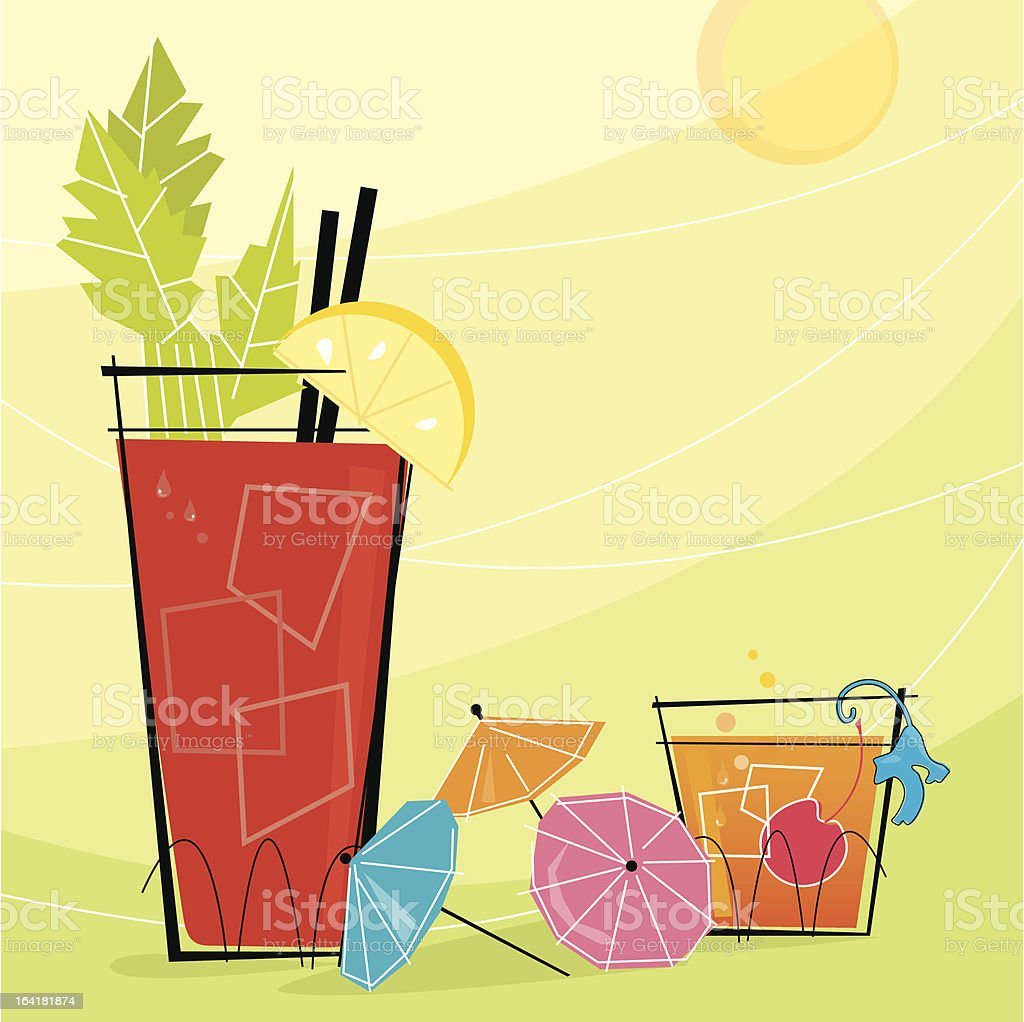 Retro Cocktails (Vector) vector art illustration