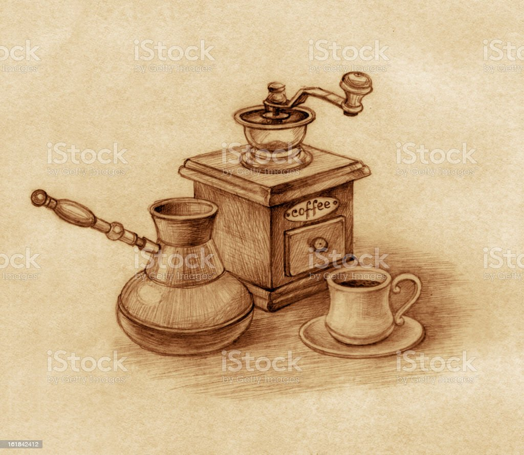 A retro coffeemaker with a fresh cup of coffee next to it royalty-free stock vector art