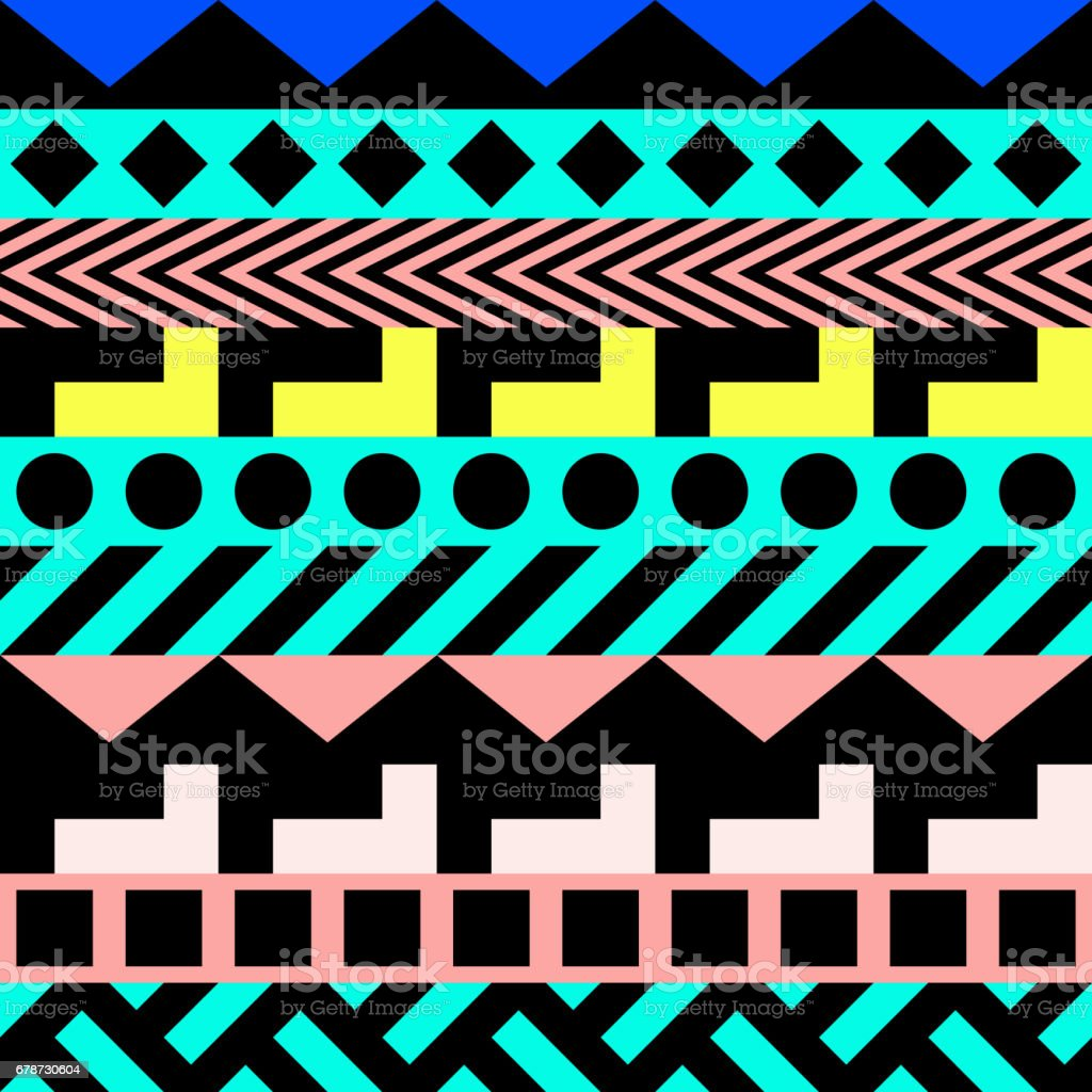 Retro Color Seamless Pattern Fancy Abstract Geometric Art