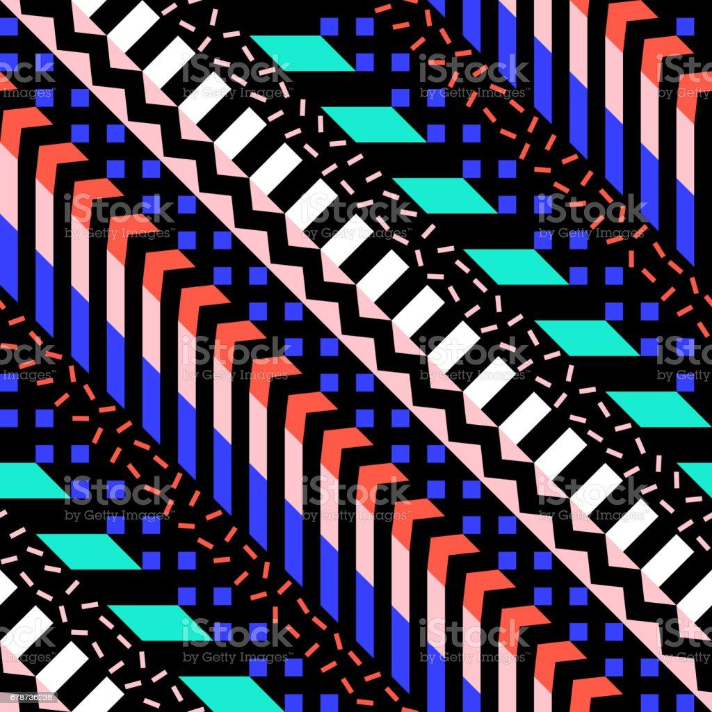 Retro renk seamless modeli. Süslü geometrik sanat baskı. Etnik hipster süs satırları zemin. royalty-free retro renk seamless modeli süslü geometrik sanat baskı etnik hipster süs satırları zemin stok vektör sanatı & arka planlar'nin daha fazla görseli