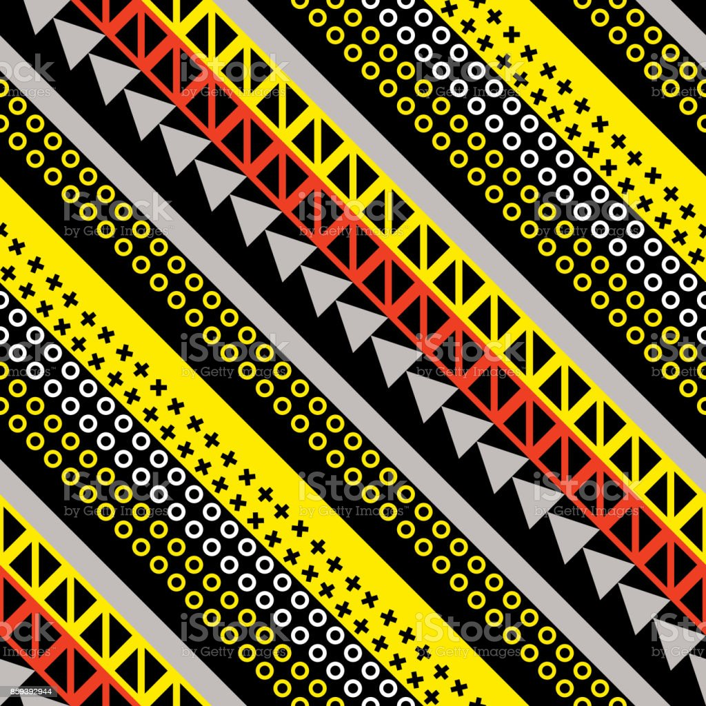 Retro Color Seamless Pattern Fancy Abstract Geometric Art Print Ethnic  Hipster Ornamental Lines Backdrop Stock Illustration - Download Image Now