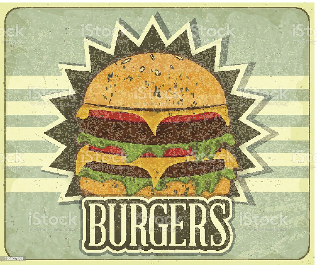Retro Cover for Fast Food Menu royalty-free stock vector art