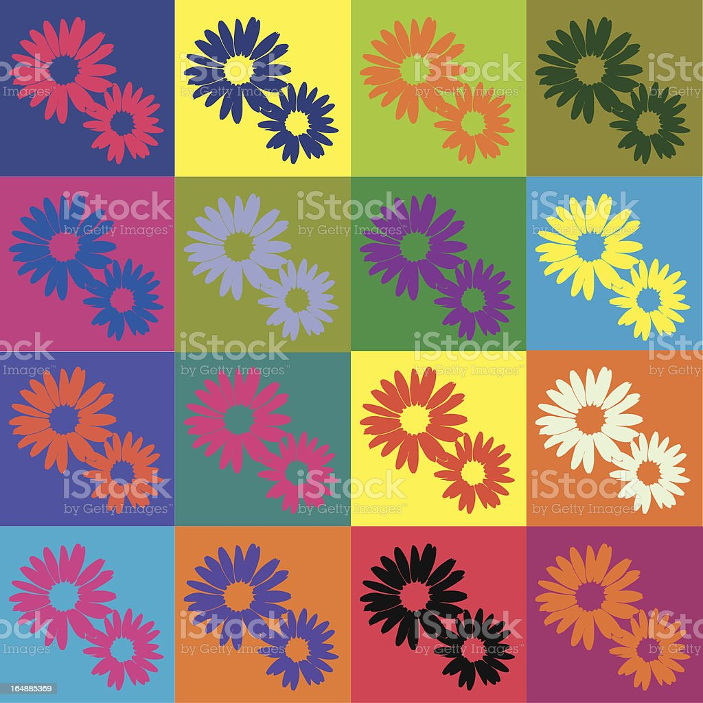 Retro daisies - vector vector art illustration