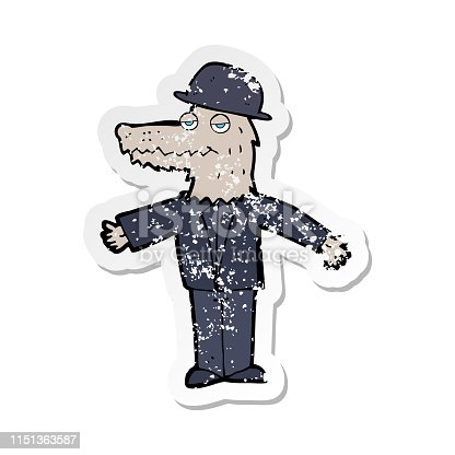 retro distressed sticker of a cartoon werewolf wearing hat