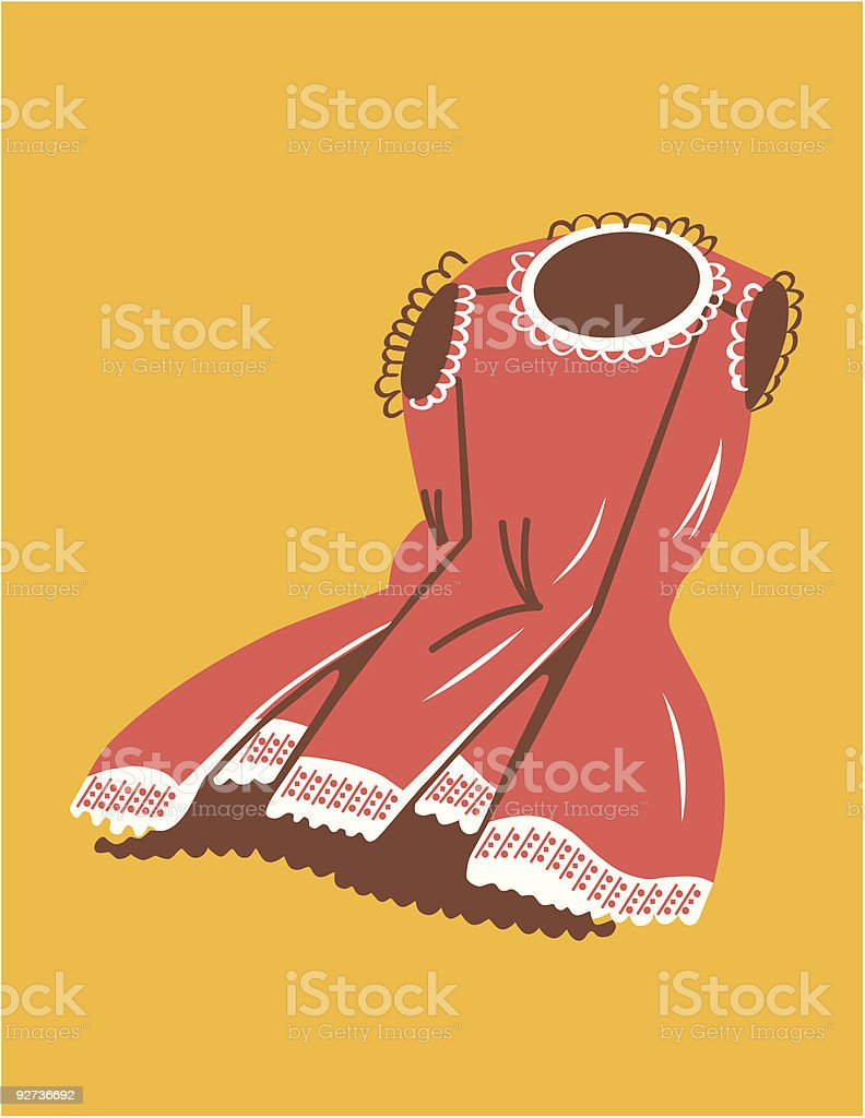 retro dress - Royalty-free Color Image stock vector