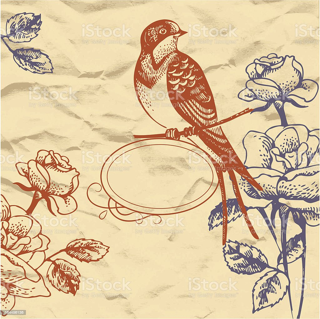 Retro floral background with bird royalty-free retro floral background with bird stock vector art & more images of animal