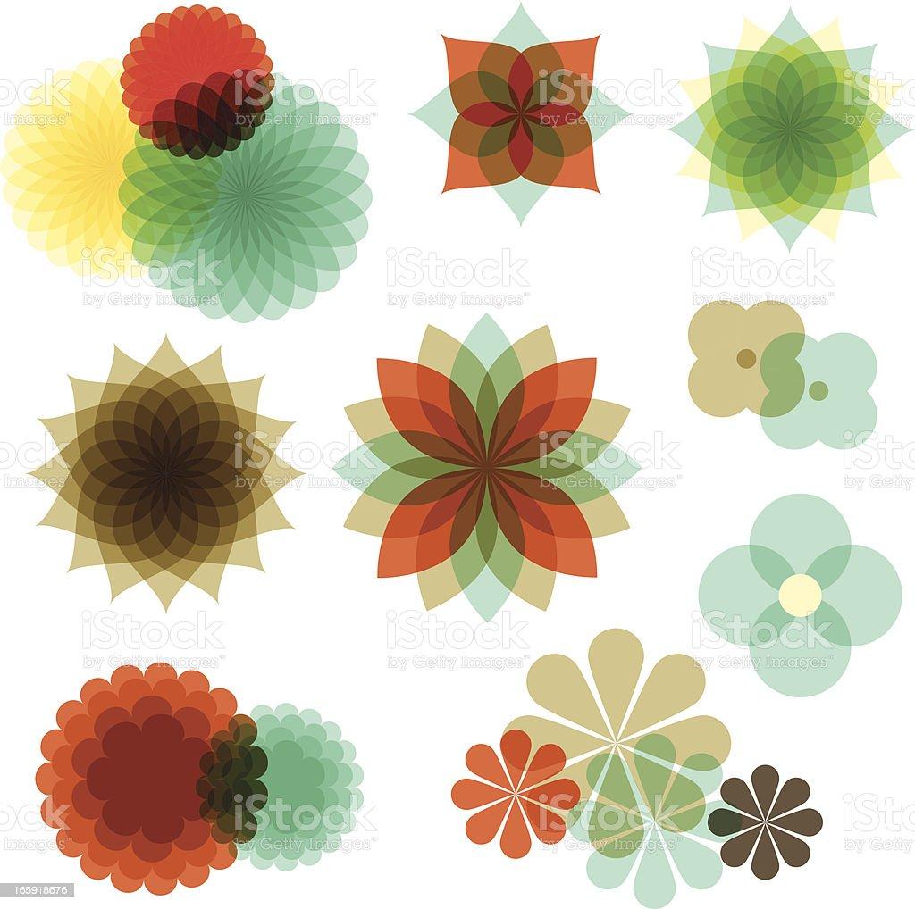 Retro Floral Ornaments vector art illustration