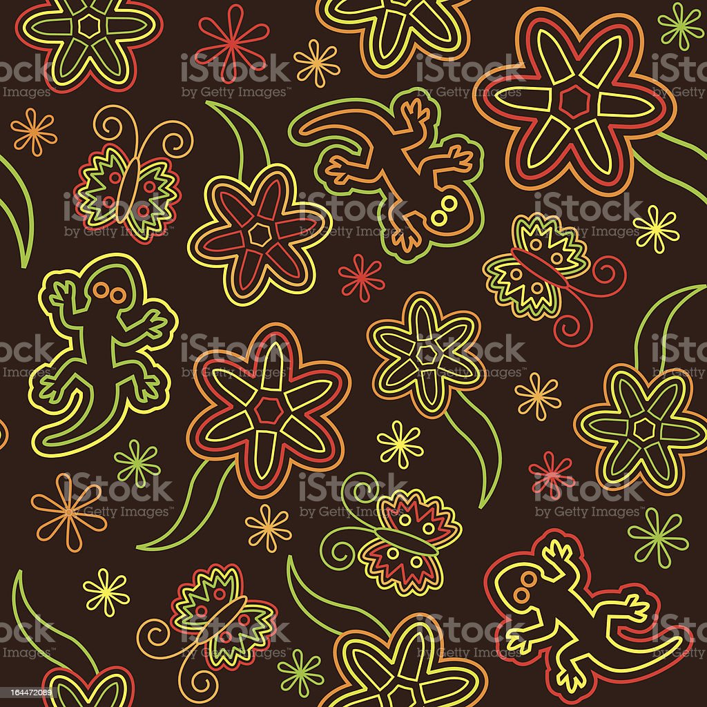 Retro flower butterfly lizard seamless vector pattern