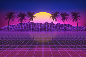istock Retro futuristic sun with palm trees, 80s abstract background 1251469886