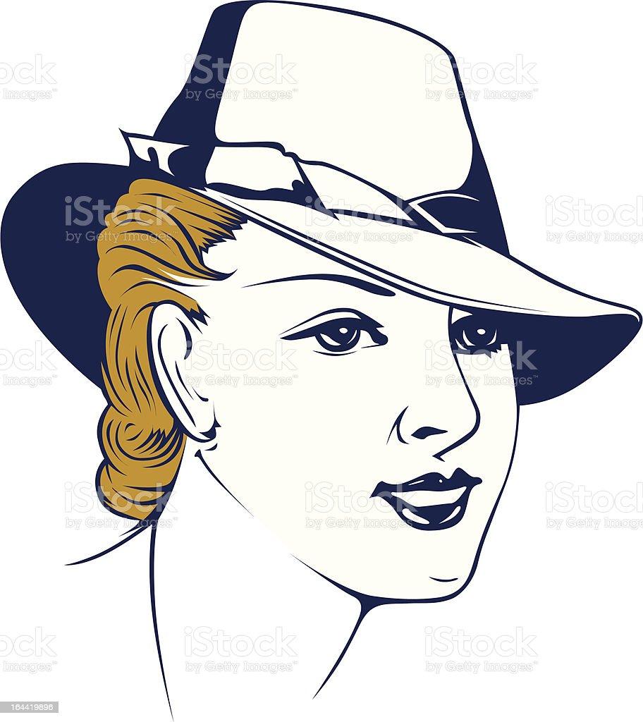 retro girl portrait in hat royalty-free retro girl portrait in hat stock vector art & more images of adult