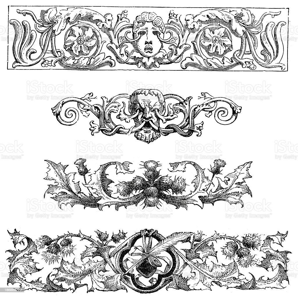 Retro Gothic Design Elements vector art illustration