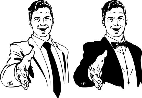 Hand drawn vector retro gentlemen with a hand shake.