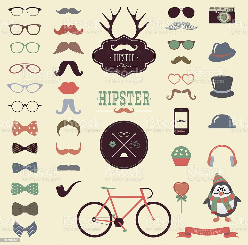 Retro hipster inspired icon set with mustaches and hats royalty-free retro hipster inspired icon set with mustaches and hats stock vector art & more images of animal