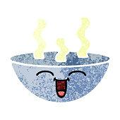 retro illustration style cartoon bowl of hot soup