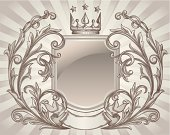 """Sepia toned decorative retro emblem, vector artwork"""