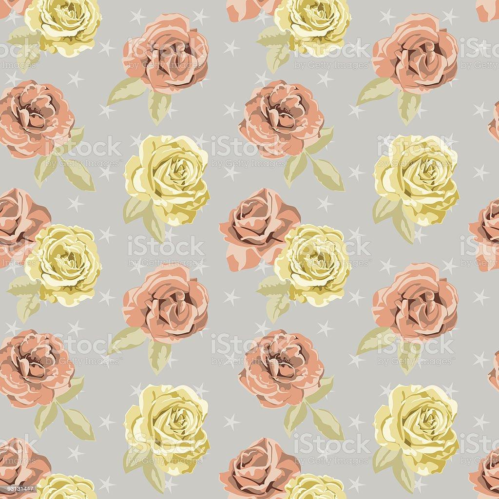 Retro Inspired Seamless Pattern Tile - Flowers/Roses & Stars royalty-free stock vector art