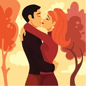 A happy couple drawn in retro style cartoons.