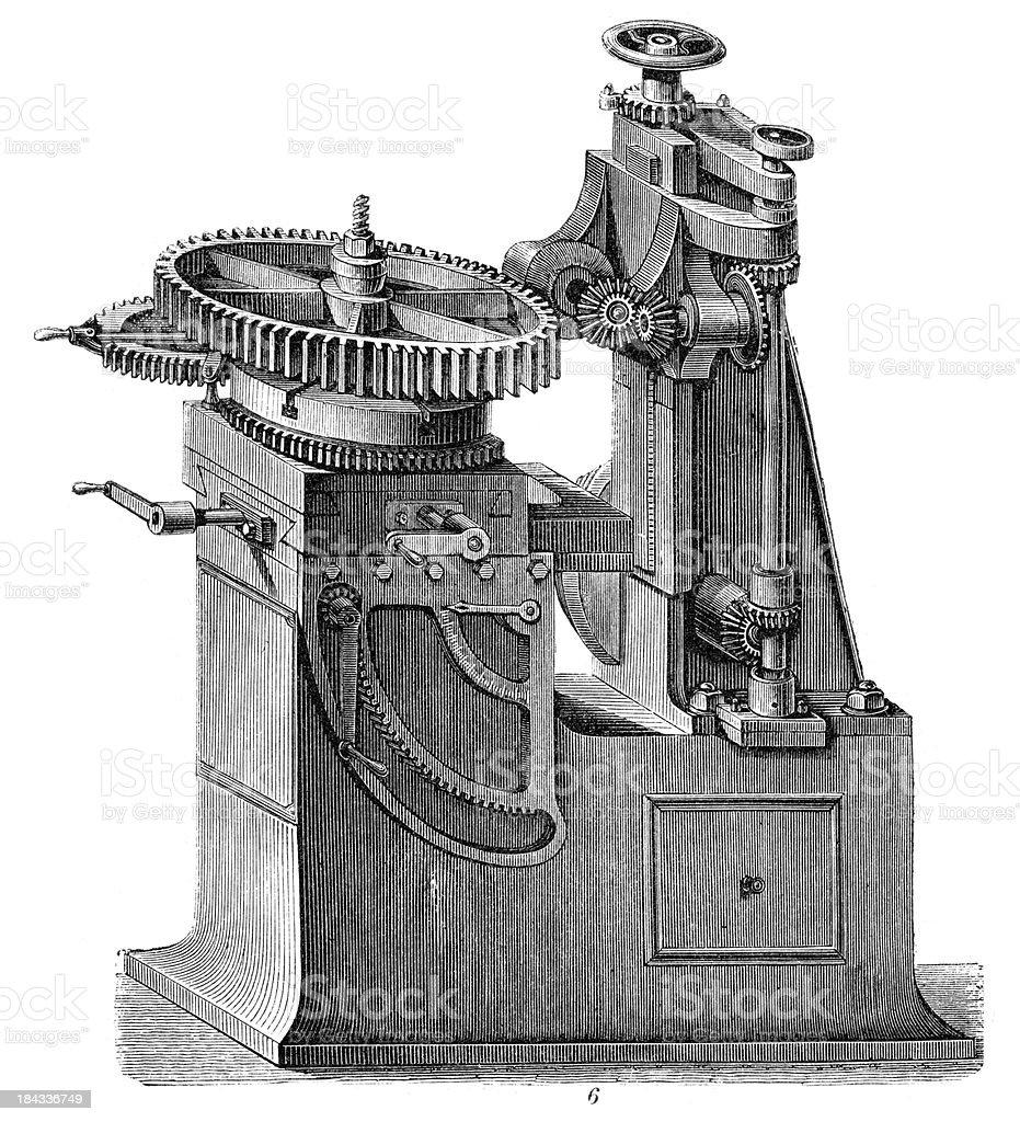 Retro Machinery -  Cutting machine royalty-free retro machinery cutting machine stock vector art & more images of 19th century