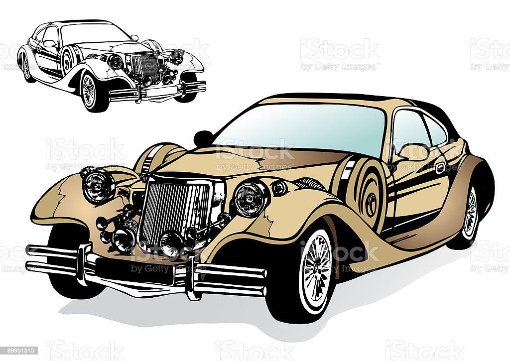 Retro magnificent car vector art illustration