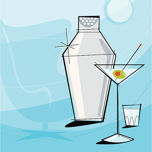 Retro Martini (Vector) Retro Martini Vignette with shaker and shot glass. Each item is grouped so you can use them independently from the background. Layered file for easy edit--no transparencies or strokes! kitsch stock illustrations