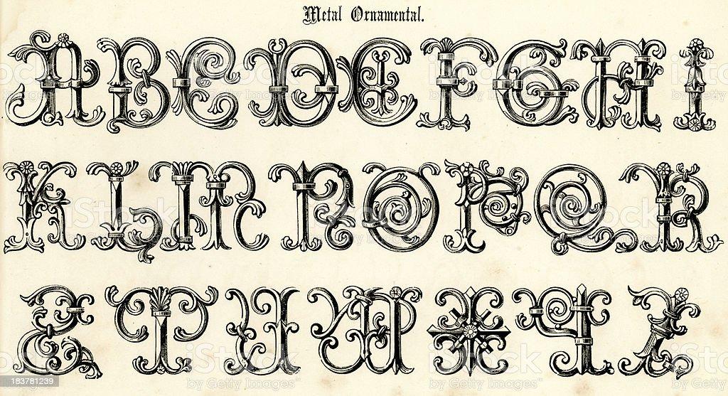 Retro Metal Ornamental Script royalty-free retro metal ornamental script stock vector art & more images of 17th century style