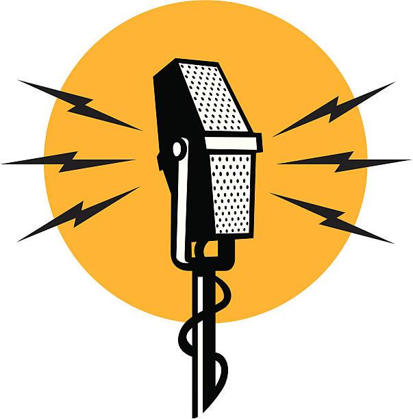 retro mic vector art illustration