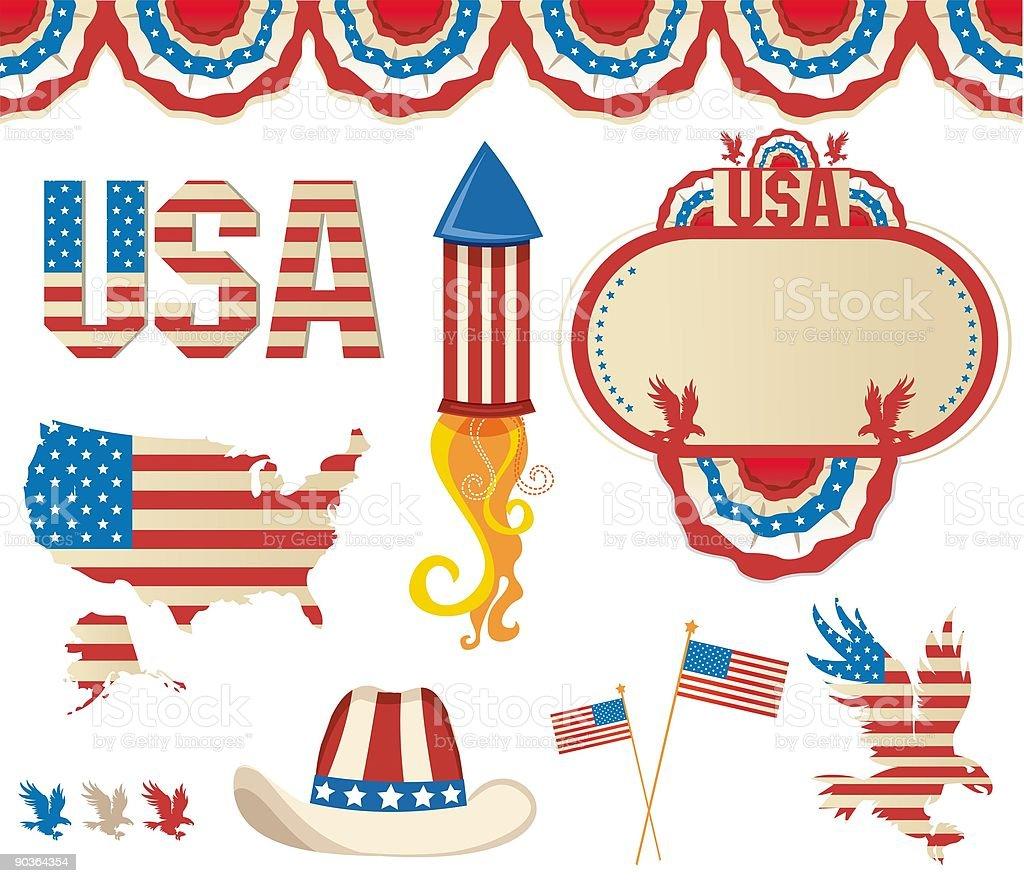 Retro  National American symbolics vector art illustration