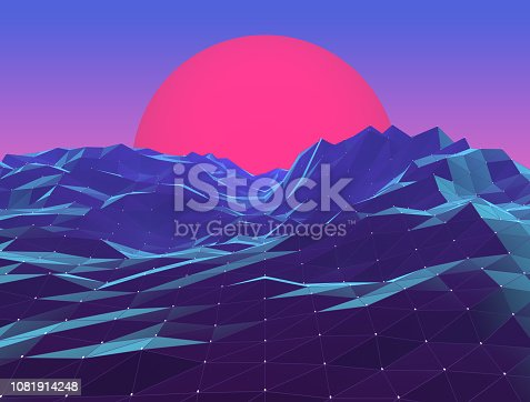 Retro neon polygon vaporwave sunset