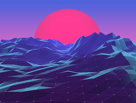 Retro Neon Polygon Vaporwave Sunset - Immagini vettoriali stock e altre immagini di Acqua
