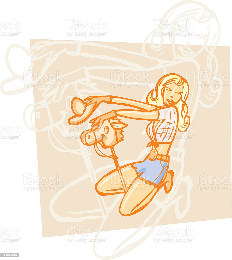 Retro Pin Up Cowgril vector art illustration
