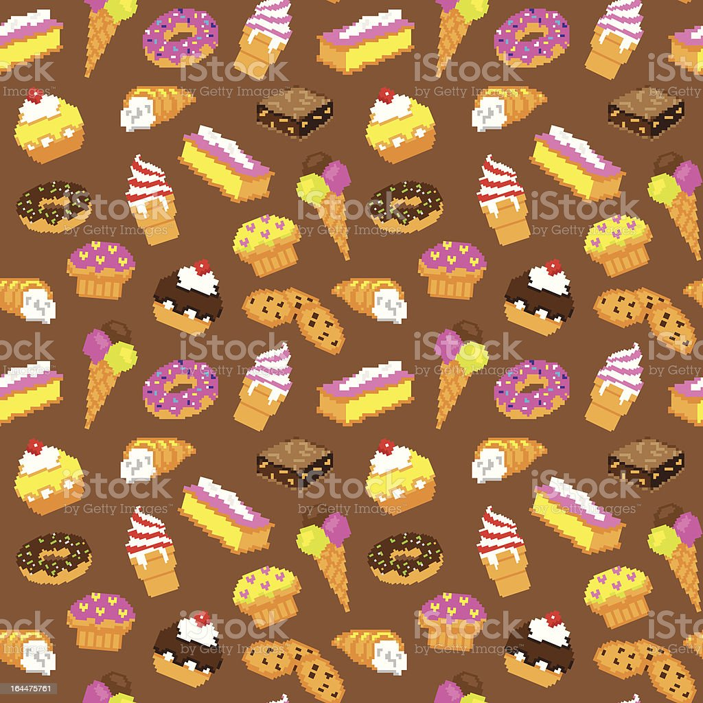 retro pixel videogame pastry seamless pattern vector art illustration