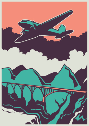 Retro poster with airplane and bridge. Vector illustration.