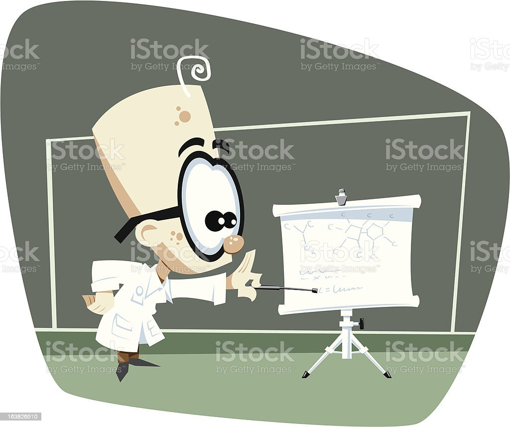Retro Science Professor Pointing at Roll Up Screen royalty-free retro science professor pointing at roll up screen stock vector art & more images of cartoon